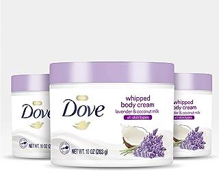 Dove Whipped Body Cream 干性皮肤保湿霜薰衣草和椰子牛奶滋养肌肤深层 10 盎司,3 支装