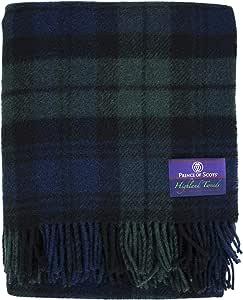 苏格兰王子高地格子花呢 * 纯全新羊毛抱毯 黑色手表 均码