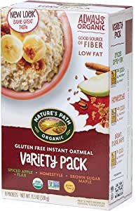 Nature's Path Organic Gluten Free Instant Hot Oatmeal, Variety Pack, 11.3 Ounce (Pack of 6)