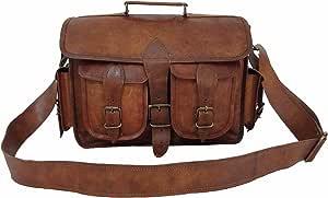 复古皮革 DSLR 相机包带可拆卸衬垫,33.02 cm MacBook/笔记本电脑公文包 邮差包 单肩包