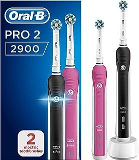 Oral-B 欧乐B Pro 2 2900 CrossAction 电动牙刷,2支,1个黑色和1个粉红色,2种模式:日常清洁和敏感有牙龈问题的牙齿传感器,2个牙刷头,2针UK插头