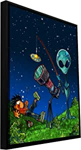 ArtWall 'UFO Kid 3' Floater Framed Gallery Wrapped Canvas Art by Luis Peres, 18 by 24-Inch
