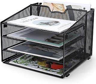 ProAid 网状书桌信纸架收纳架,桌面文件夹Hoder收纳架,金属文件文件托盘,易组装纸架,黑色