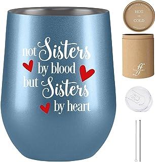 Not Sisters by Blood but Sisters by Heart,送给女性的好朋友礼物,Unbiological Sister 礼物,灵魂姐妹礼物,Fancyfams 12 盎司不锈钢酒杯,法律姐妹礼物 银蓝色