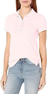 Nautica 女士 5 粒扣短袖透气纯棉 Polo 衫 摇篮粉色 Medium