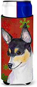 Chihuahua Red and Green Snowflakes Holiday Christmas Michelob Ultra Koozies for slim cans SS4725MUK 多色 Slim