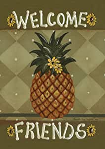 Toland Home Garden Welcome Friends 28 x 40 Inch Decorative Americana Pineapple Sunflower Double Sided House Flag