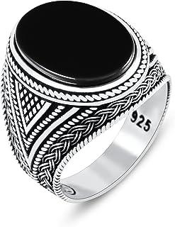 Chimoda 男士戒指 带黑色缟玛瑙石 925 纯银 带复古东部图案男士珠宝