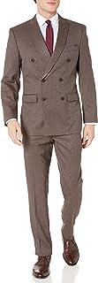 Perry Ellis 男式两件套修身西装 棕色格纹 40 Short