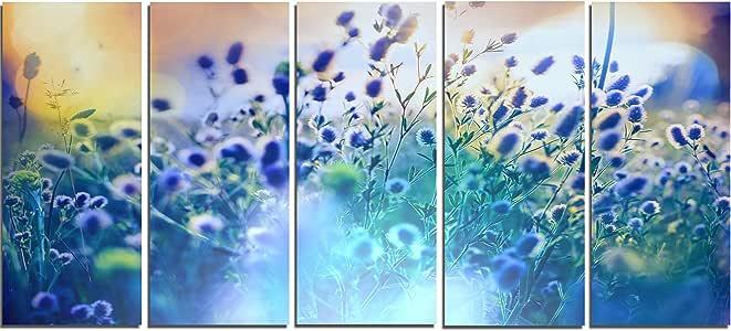"""设计艺术 PT12426-32-16 草花花卉艺术画帆布上的蓝色夏季花朵 60x28"""" - 5 Equal Panels PT12426-60-28-5PE"""