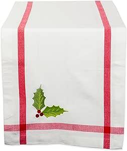dii 100% 棉,可机洗,适用于 dinner 聚会,圣诞和假日桌布–50.80cm x ,座椅4people ,红色,刺绣槲寄生