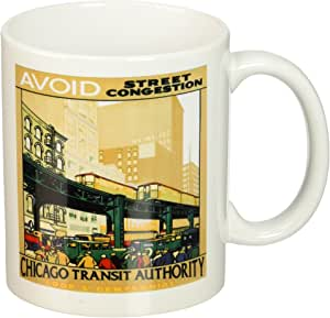 3dRose mug_163585_1 Image of Elevated Trains with Cars in Chicago Ceramic Mug, 11-Ounce