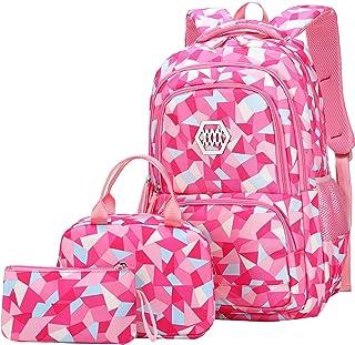 JiaYou 女孩花朵印花中小学高校书包书包背包 2# Rose-3pcs 19 L