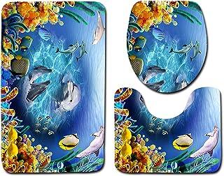 Jamo 商店 3D 客户设计标志印花河岩浴室地毯泡泡*海绵儿童防滑浴室垫套装   马桶座套 - 浴室垫 - 盖套 - 3 件套 蓝色