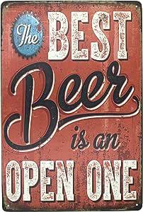 锡标志啤*金属复古风格墙壁装饰咖啡和*吧装饰,尺寸 20.32 X 30.48 厘米 Best Beer is an Open One 14148719