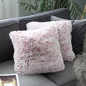 """Uhomy 2 件装家居装饰超柔软奢华系列毛绒仿皮毛抱枕枕套渐变色垫套适用于沙发/床罩 18x18 英寸 45x45 厘米 Burgundy Ombre 2 pieces, 18""""*18"""" UH003J01"""