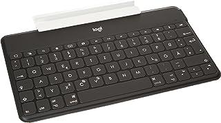 Logitech 罗技 Keys-To-Go无线蓝牙键盘,适用于iPhone,iPad,智能手机,平板电脑,Android,Windows,Apple TV,超薄,超轻,快捷键,QWERTZ德国布局-黑色