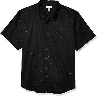 Calvin Klein 男士棉質彈力紐扣短袖襯衫