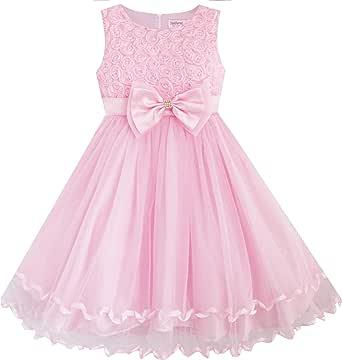 Sunny Fashion Girls' Dress Pink Rose Bow Tie Belt Wedding Birthday Party 粉红色 4-5