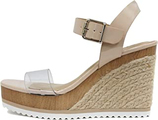 SODA Style Issue ~ Espadrilles 黄麻布露趾搭扣脚踝绑带坡跟休闲时尚凉鞋