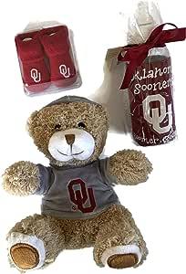 Oklahoma Sooners OU 婴儿靴毛绒连帽熊不含 BPA 瓶装 Coolzie 婴儿袜
