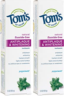Tom's of Maine Antiplaque and Whitening Fluoride-Free Toothpaste, Peppermint, 5.5 Ounce ( Pack of 2 )
