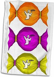 3D Rose 可爱红橙色和棕色土耳其快乐感恩手巾,15 英寸 x 22 英寸