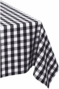 """DII 100% Cotton, Machine Washable, Dinner, Summer & Picnic Tablecloth, 60 x 84"""", Black & White Check, Seats 6 to 8 People"""