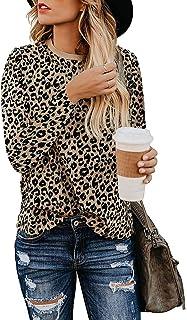 Adibosy 女士豹纹印花衬衫基本款束腰圆领舒适上衣长袖时尚女衬衫