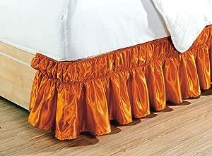 包裹 35.56 厘米长秋季纯色荷叶边弹性棉缎床裙 1500 系列金色皇冠系列高支*床罩,不起皱。 单人床、普通双人床、大床、国王和加州王 橙色 Queen/King