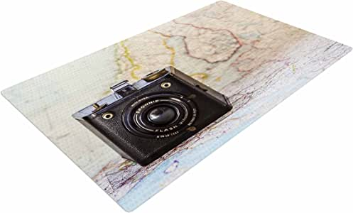 "KESS InHouse DO1047ADR02 Debbra Obertanec""Travel Time"" 黑色米色编织小地毯,4 英尺 X 6 英尺,"