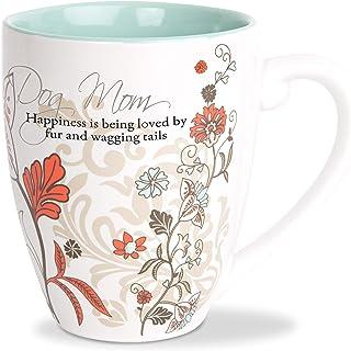 Pavilion Gift Company 66356 狗妈妈花卉图案青色室内咖啡杯 567 毫升杯