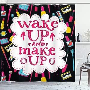 ambesonne 语录浴帘 witty 谚语 wake up Make up with 化妆品 icons 唇膏睫毛膏和*油布装饰浴帘自带挂钩多色
