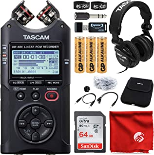 Tascam DR-40X 4通道/4音轨便携式录音机 USB 接口捆绑带 Tascam Closed-Back 专业录音室耳机,AK-DR11C 配件包,64GB Ultra SDXC 存储卡