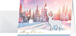 Sigel DS066 手工制作圣诞贺卡套装 带信封,A6,10件,带3D应用,涂漆和薄膜压花,玫瑰色调