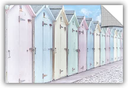 ArtWall Cora Niele's Sea Side Beach Cabins I Appeelz Removable Graphic Wall Art, 16 by 24""