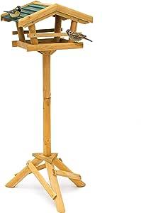 relaxdays 带支架 HBT 100X 37CM x 43cm 木质鸟 HOUSE 鸟 feeder wren HOUSE 和橡子松鸦 feeder 和 feeder 与绿色屋顶,自然色