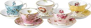 Royal Albert 百年周年系列1950-1990茶杯与茶碟5套装 彩色