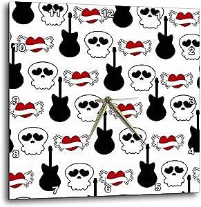 3drose dpp_110376_2 骷髅、吉他和心形图案朋克摇滚艺术挂钟,13 x 13 英寸