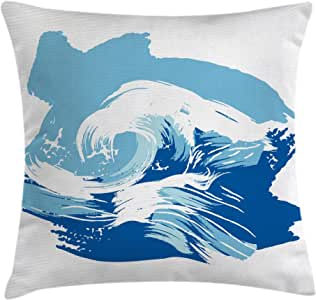 Ocean Throw Pillow Cushion Cover by Ambesonne, Sealife Beach Themed Surfing Miami Waves Sea Marine Life Image Art Print, Decorative Square Accent Pillow Case, 24 X 24 Inches, Blue Light Blue White