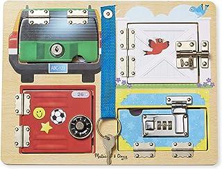 Melissa & Doug 美国玛莉莎 锁&闩板木制教育玩具(坚固的木结构,有助于培养精细运动技能)