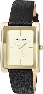 ANNE KLEIN 女士 AK/2706CHBK 皮革表带手表,黑色/金色,均码