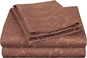 Impressions Cotton Blend 600 Thread Count, Deep Pocket, Soft, Wrinkle Resistant 4-Piece King Bed Sheet Set, Paisley Chocolate