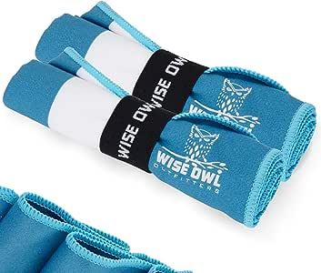 Wise Owl Outfitters 野营毛巾 - 超柔软紧凑速干超细纤维*佳健身海滩远足瑜伽旅行运动背包&健身房快干免费赠送毛巾