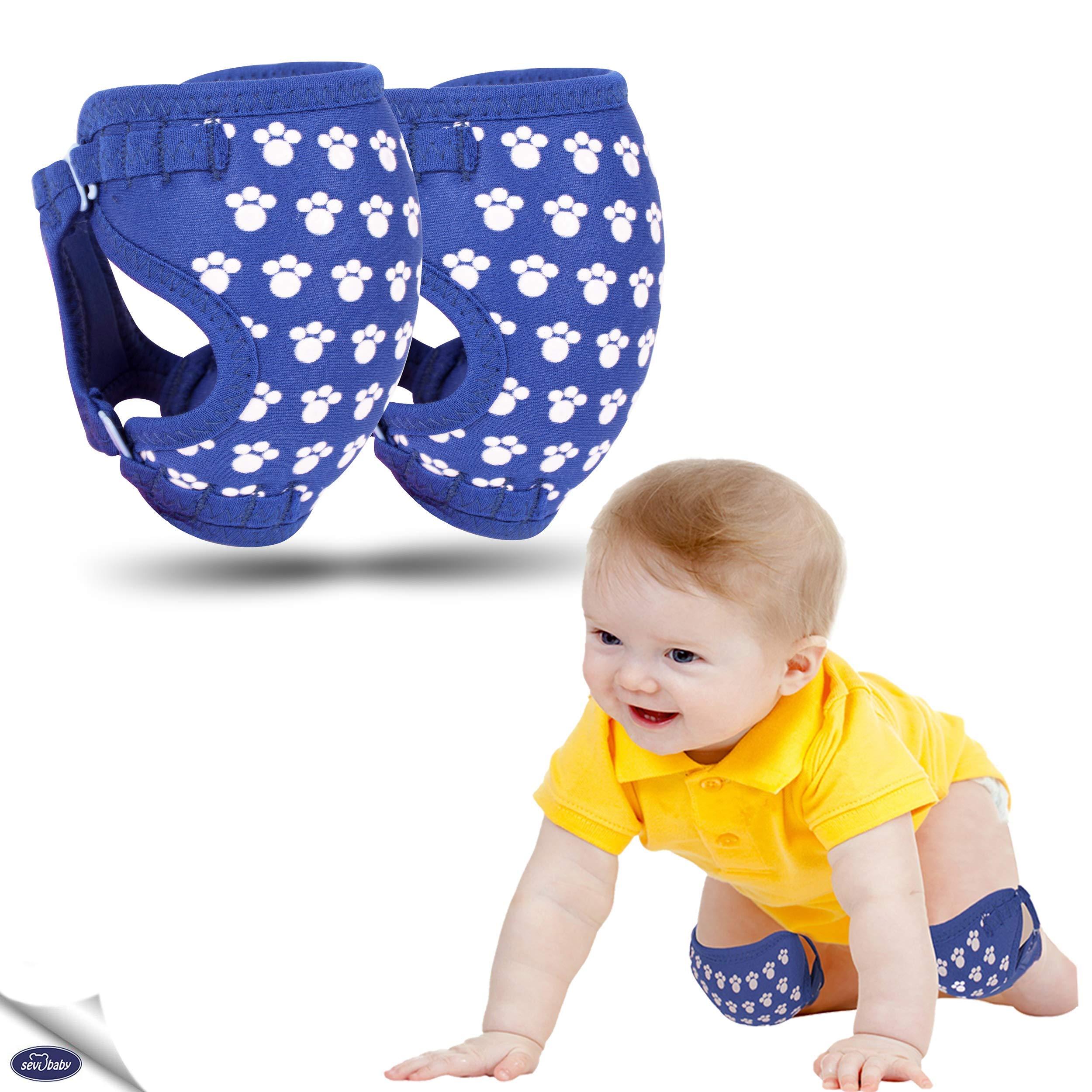 适合爬行的婴儿护膝,独特设计由针织面料制成,可轻松调节防滑护膝,女宝宝、男孩、儿童、透气护膝,膝 蓝色