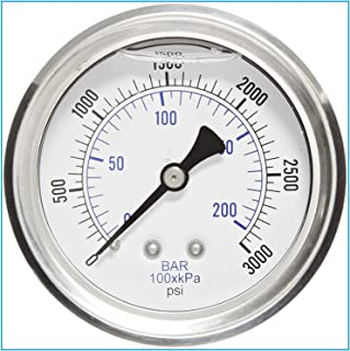 LIQUID FILLED 压力气体,6.35 厘米表盘,不锈钢表壳,黄铜连接,0.64 厘米磁环 NPT 后挂件连接,双伸缩 PSI 和杆 0-3,000 PSI 4336550545