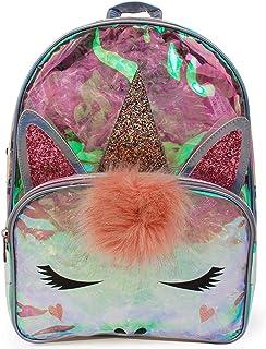 Funky Junque 女孩独角兽猫迷你背包斜挎动物包拉链袋 Large Backpack - Clear Unicorn 均码