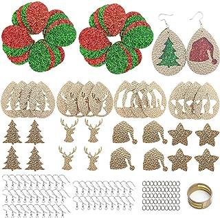 AOUXSEEM 165 件圣诞人造革耳环制作套装,适合初学者,24 对预切割耳环和圣驯鹿树帽星形图案带钩环