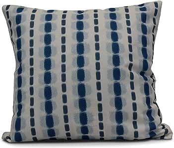 E by Design Funky Junky 水彩条纹装饰枕头 Light Blue/Dark Blue 16L x 16W in. PS764BL44-16