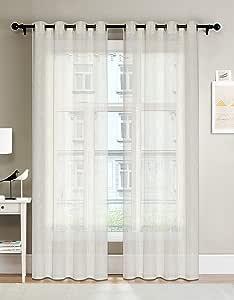 "PARK 半透明窗帘 - 顶部孔环设计亚麻纹理客厅/卧室/书窗面板一对(2 件套)137.16 厘米 W213.36 厘米(亚麻) Linen 54""W x 84""L"